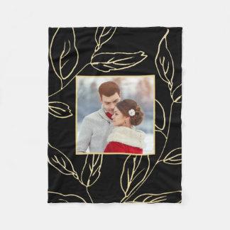 Cobertor De Velo O preto chique com a cor do ouro botânica adiciona