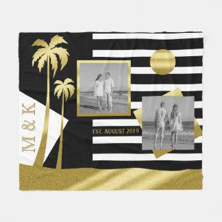Cobertor De Velo O preto da praia do ouro listra o monograma das