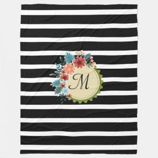 Cobertor De Velo O preto listra a cobertura floral do monograma