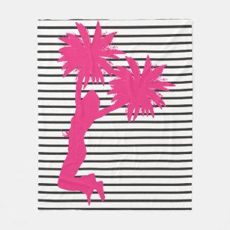 Cobertor De Velo O rosa do cheerleader de Pom Pom listra a