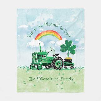 Cobertor De Velo O trevo verde do trator do vintage adiciona o nome