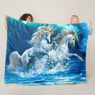 Cobertor De Velo O unicórnio mágico do oceano acena o cetim