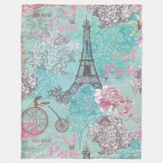 Cobertor De Velo O vintage Paris-Eiffeltower floresce a bicicleta