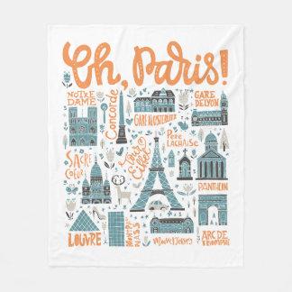 Cobertor De Velo Oh, Paris! tipografia da cidade de  