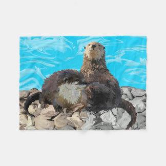 Cobertor De Velo Onde o rio encontra as lontras de mar