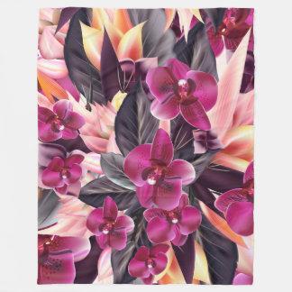 Cobertor De Velo Orquídeas. Design tropical com as flores bonitas