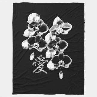 Cobertor De Velo Orquídeas japonesas no preto