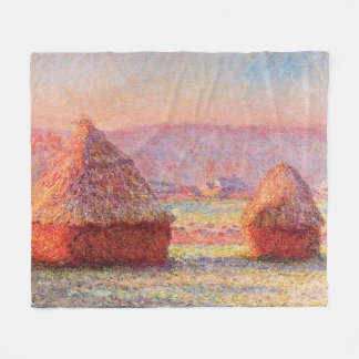 Cobertor De Velo Os monte de feno de Monet, Frost branco, nascer do
