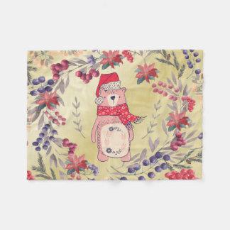 Cobertor De Velo Ouro das bagas da aguarela do urso do Natal