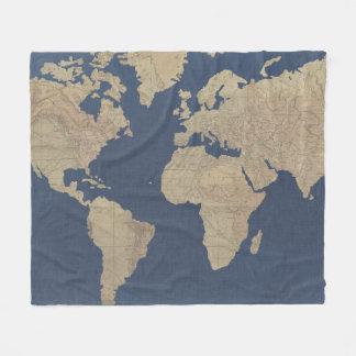Cobertor De Velo Ouro e mapa do mundo azul