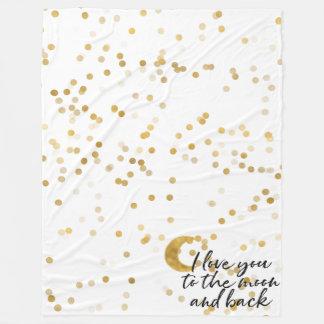 Cobertor De Velo Ouro eu te amo aos confetes da lua