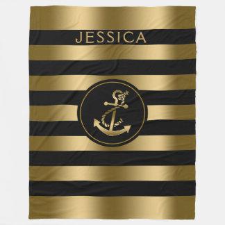 Cobertor De Velo Ouro & listras pretas com a âncora náutica do ouro