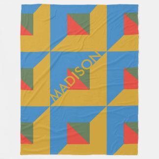 Cobertor De Velo Outono geométrico do monograma do bloco da cor da