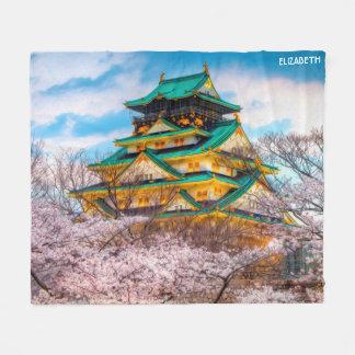 Cobertor De Velo Pagode e Sakura japoneses do jardim em Osaka,