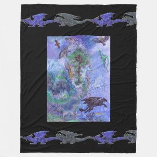 Cobertor De Velo Pantera azul do dragão verde do unicórnio preto do