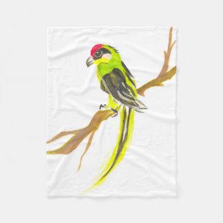 Cobertor De Velo Papagaio em um ramo. Pintura da aguarela