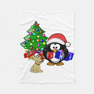 Cobertor De Velo Papai noel bonito do pinguim e cão da rena