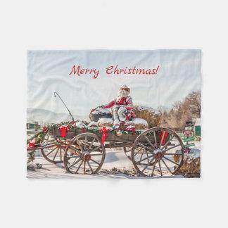 Cobertor De Velo Papai noel do vaqueiro - vagão com pacotes de feno