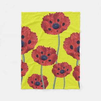 Cobertor De Velo Papoilas vermelhas no amarelo