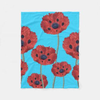Cobertor De Velo Papoilas vermelhas no azul