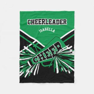 Cobertor De Velo Para um cheerleader - verde, o branco & o preto