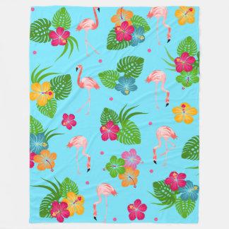 Cobertor De Velo Pássaros do flamingo com flores do hibiscus
