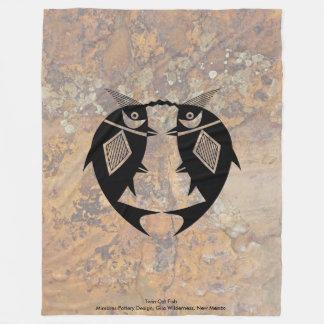 Cobertor De Velo Peixe-gato gêmeo, design da cerâmica de Mimbres