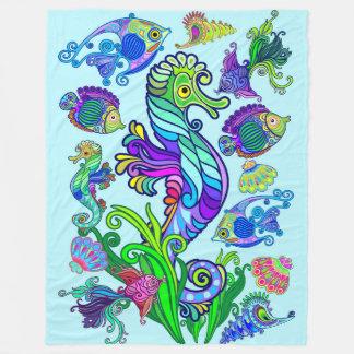 Cobertor De Velo Peixes exóticos & cavalos marinhos da vida marinha
