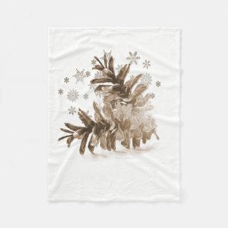 Cobertor De Velo Pinecones rústico na cobertura do velo da neve