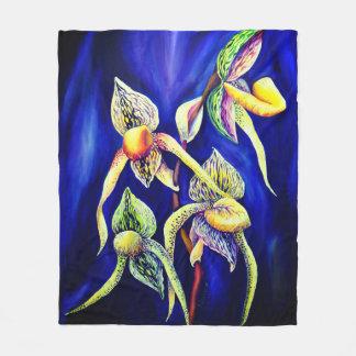 Cobertor De Velo Pintura das orquídeas azuis