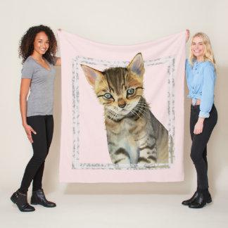 Cobertor De Velo Pintura do gatinho do gato malhado com quadro de