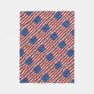 Cobertor De Velo Pintura vestida rachada patriótica da bandeira