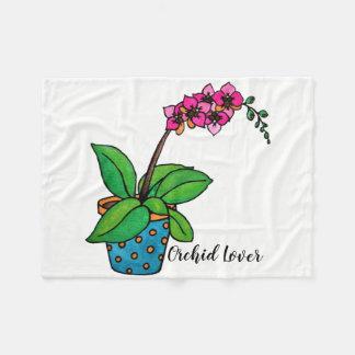 Cobertor De Velo Planta da orquídea da aguarela no pote bonito