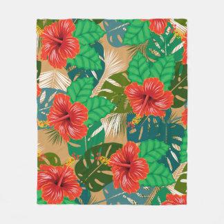 Cobertor De Velo Plantas vermelhas havaianas da ilha do hibiscus
