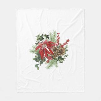 Cobertor De Velo poinsétia moderna do feriado do vintage floral