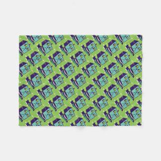 Cobertor De Velo Pop art triste verde do robô