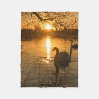 Cobertor De Velo Por do sol com cisne
