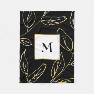 Cobertor De Velo Preto chique com a cor do ouro botânica e o