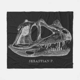 Cobertor De Velo Preto da paleontologia do crânio do dinossauro do