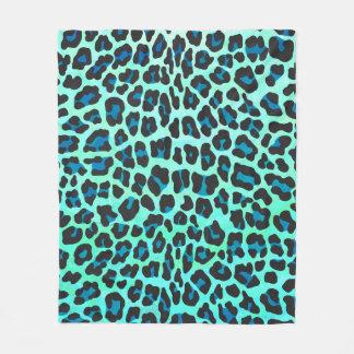 Cobertor De Velo Preto do leopardo e impressão da cerceta