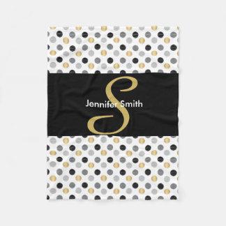 Cobertor De Velo Preto do monograma, ouro, bolinhas de prata