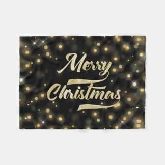 Cobertor De Velo Preto do ouro de Bokeh do brilho do Feliz Natal