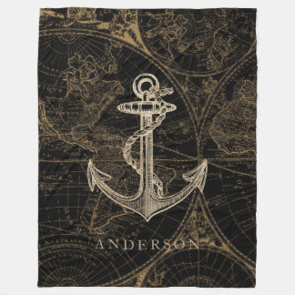 Cobertor De Velo Preto náutico do monograma da âncora do Velho