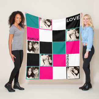 Cobertor De Velo Preto personalizado de turquesa do rosa da