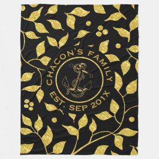 Cobertor De Velo Preto & teste padrão sem emenda das folhas de ouro