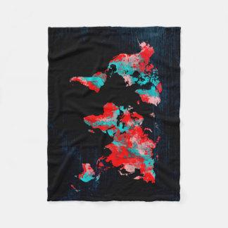Cobertor De Velo preto vermelho do mapa do mundo