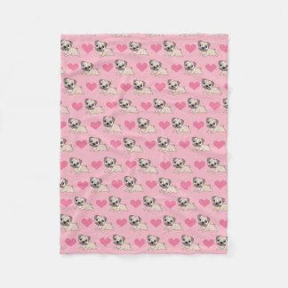 Cobertor De Velo Pugs cor-de-rosa bonitos com cobertura dos