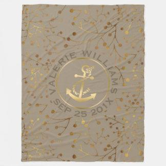 Cobertor De Velo Ramos de árvore de Tan & de ouro com a âncora