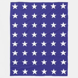 Cobertor De Velo Repetindo as estrelas brancas no teste padrão azul