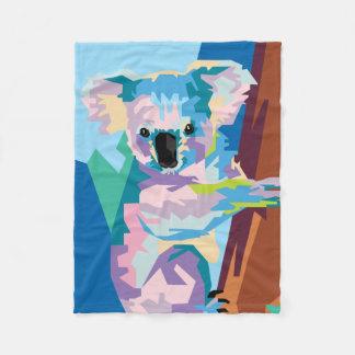 Cobertor De Velo Retrato colorido do Koala do pop art